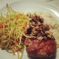 Paleo meatloaf, sautéed mushrooms, mashed cauliflower, and sautéed broccoli slaw.
