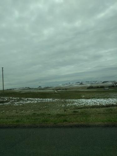 Montana or North Dakota sometime on day three. Snow. >_<