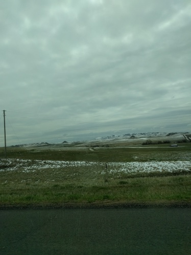 Montana or North Dakota sometime on day three. Snow. >_<